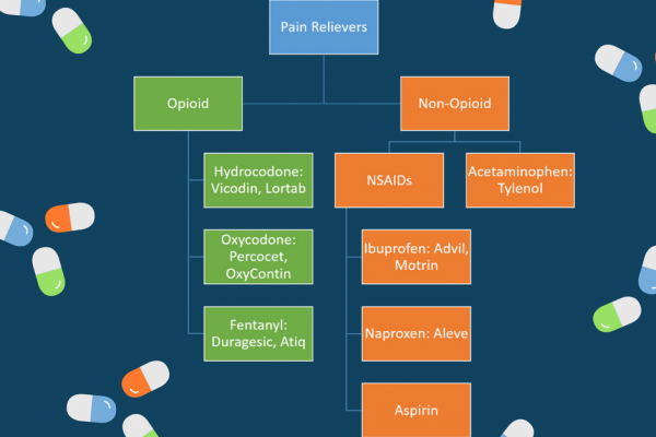 Opioid Pain Relievers include medications such as hydrocodone and oxycodone. Non opioid pain relievers include medications like NSAIDs and acetaminophen.