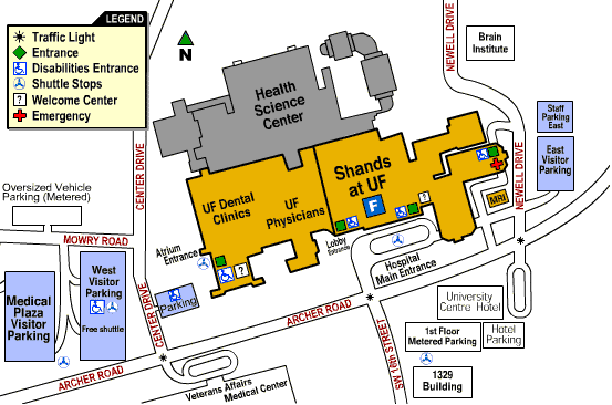Map of Shands Parking