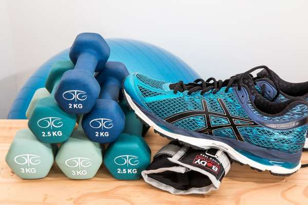 Dumbbells and running shoes